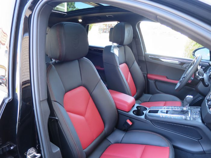 Black garnet red two tone leather interior package - Porsche macan white with red interior ...